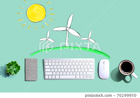 Windmills theme with a computer keyboard 70299950