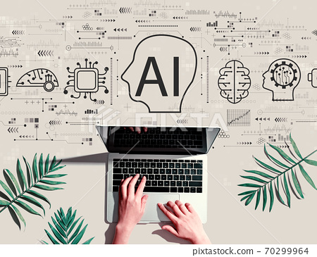 AI concept with person using a laptop 70299964