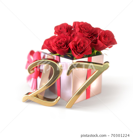 birthday concept with red roses in gift isolated on white background. twenty-seventh. 27th. 3D render 70301224