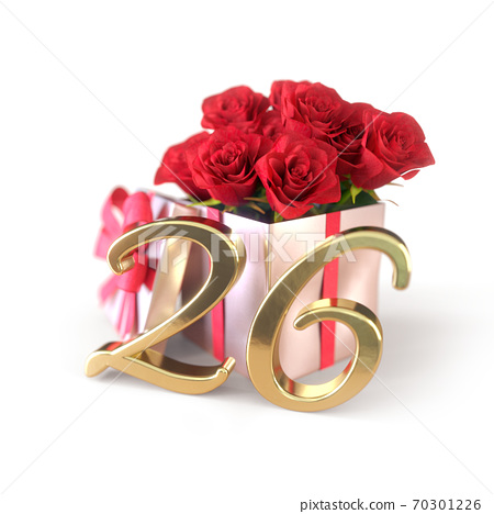 birthday concept with red roses in gift isolated on white background. twenty-sixth. 26th. 3D render 70301226
