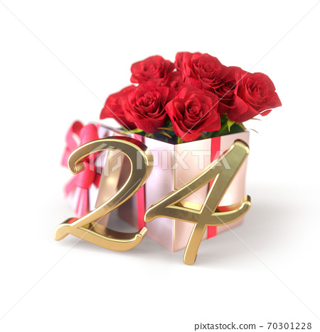 birthday concept with red roses in gift isolated on white background. twenty-fourth. 24th. 3D render 70301228