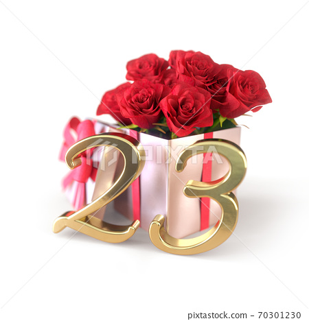 birthday concept with red roses in gift isolated on white background. twenty-third. 23rd. 3D render 70301230