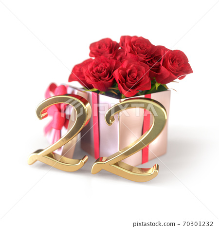 birthday concept with red roses in gift isolated on white background. twenty-second. 22nd. 3D render 70301232