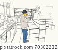 A simple illustration of a person drinking coffee at the kitchen counter 70302232
