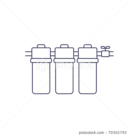 water filter, filtration system line icon on white 70302793
