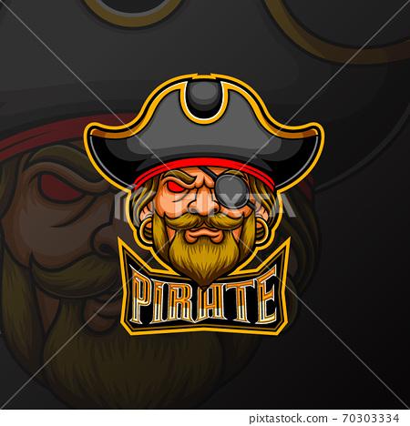 Pirate mascot e sport logo design 70303334