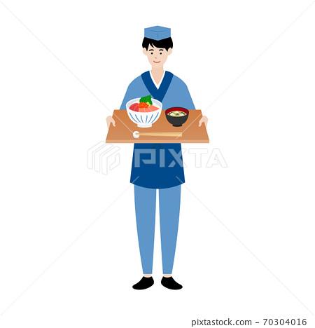 日本廚師/服務員端著一托盤海鮮碗和味mis湯 70304016