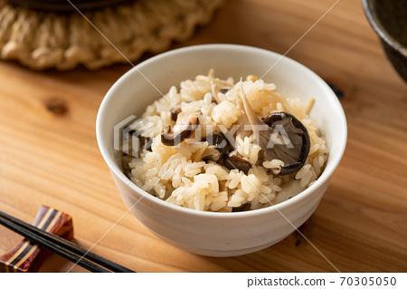 그릇에 담은 버섯 밥 70305050