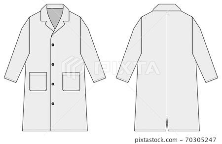 Long coat / trench coat vector illustration template / white / white / gray 70305247