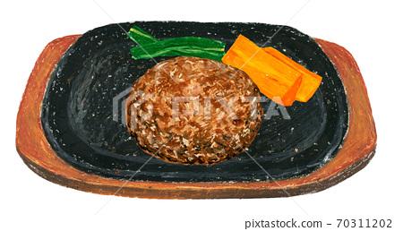 插圖鐵板漢堡包蔬菜 70311202