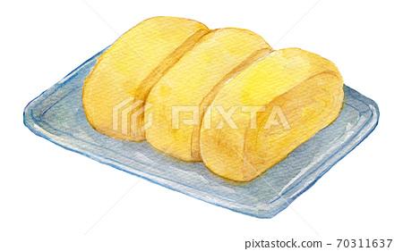 水彩插圖食品雞蛋烤雞蛋捲 70311637