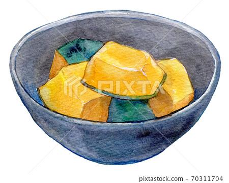 水彩插圖,食物,家常菜,水煮南瓜 70311704
