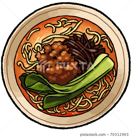 [手繪食物插圖]譚丹麵條的插圖 70312903