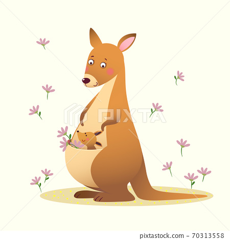 Vector illustration of a cartoon kangaroo with her little cute baby kangaroo on yellow background. 70313558