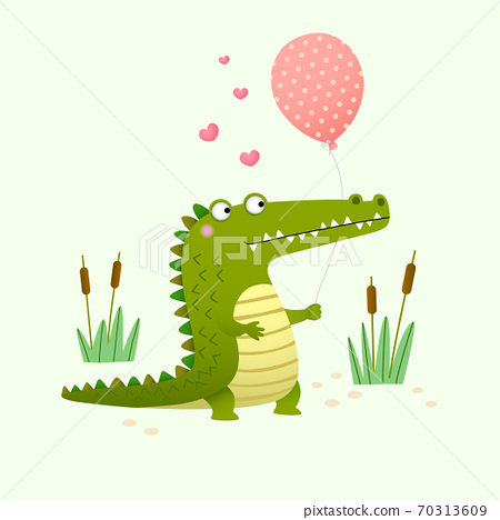 Vector illustration of a cute crocodile holding a balloon on green background. 70313609