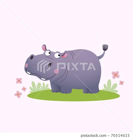 Vector illustration cute cartoon hippopotamus on green grass. 70314015
