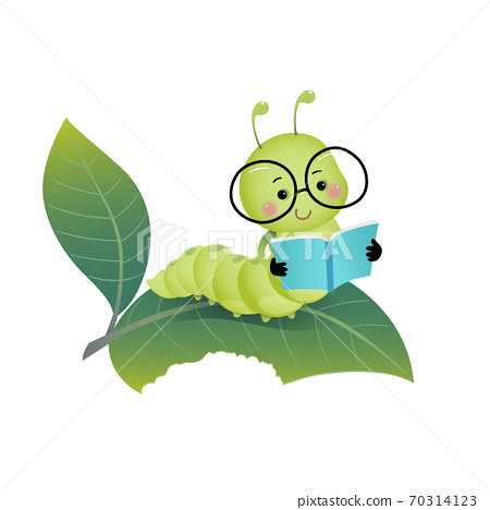 Vector illustration cute cartoon caterpillar wearing glasses and reading a book on the leaf. 70314123