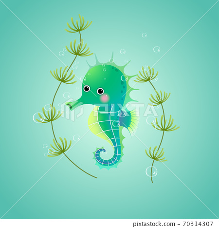 Vector illustration cute cartoon seahorse underwater in the sea. 70314307