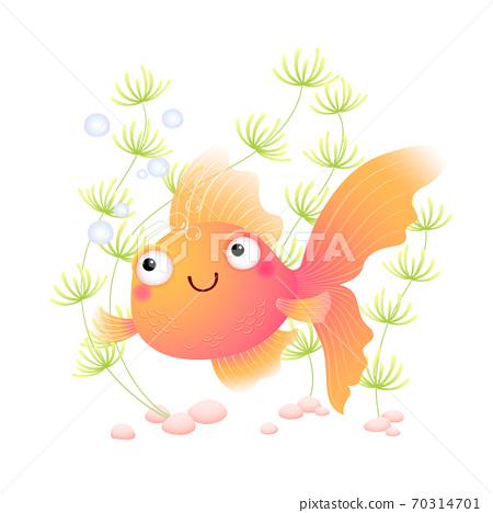 Vector illustration cute cartoon goldfish in an aquarium. 70314701
