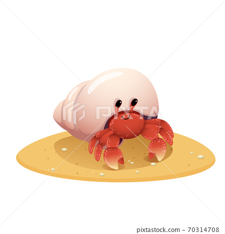 Vector illustration cute cartoon hermit crab crawling on the beach on white background. 70314708