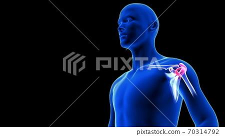 Shoulders Pain close-up illustration. Blue Human Anatomy Body 3D Scan render on black background 70314792