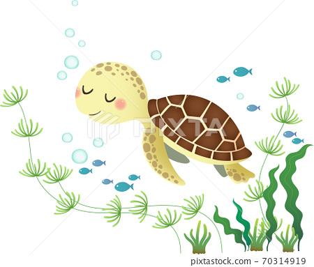 Vector illustration of a cute cartoon sea turtle swimming in the deep blue ocean. 70314919