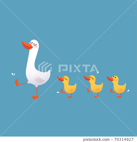 Vector illustration of a cartoon mother duck and her ducklings walking on blue background. 70314927