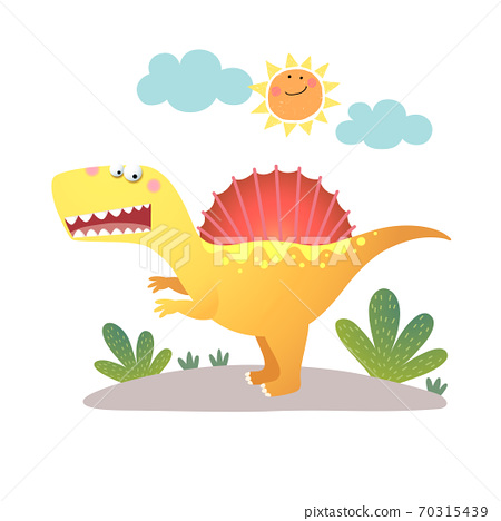 Vector illustration of cartoon Spinosaurus dinosaur on white background. 70315439