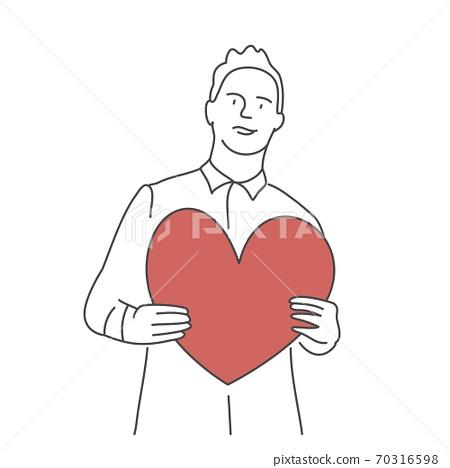 Guy holding red heart. 70316598