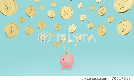 Pink piggy bank and falling gold coins with dollar sign with cyan background. Concept of saving money. 3d render illustration 70317618