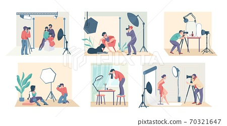 Photo studio. Cartoon photographers shooting family, model, couple and people in costumes. Vector professionals taking photo at studio 70321647