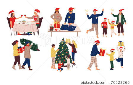 Christmas celebration scenes. Kids and adults prepare Xmas dinner, presents, decorate home. Family and friends celebrating winter holidays. People winter activities, vector December set 70322266