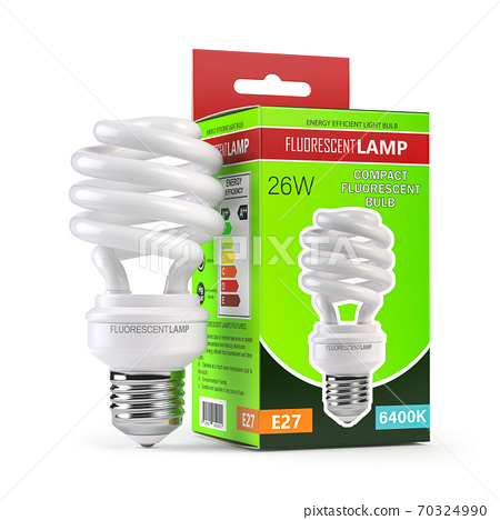 Spiral fluorescent lamp, energy saving light bulb with green box isolated on white. 70324990