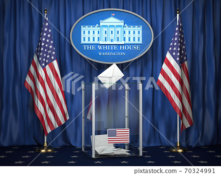 US Presidentilal Election concept. Ballot box with USA flags and sign of White House. 70324991