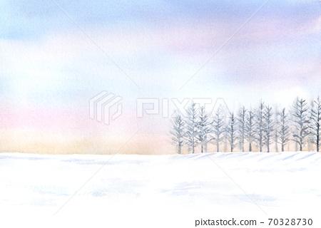 부드러운 색상의 하늘과 눈이 쌓인 경치 수채화 70328730