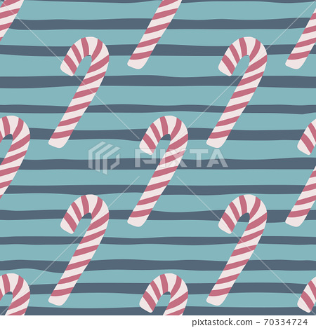 Lilac christmas candy print seamless patter. Navy blue and turquoise striped background. Simple stylized new year treats print. 70334724