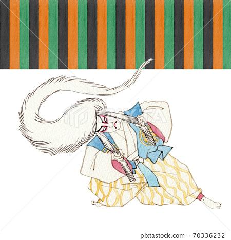 Mukimikuma Renshishi白色歌舞uki Kumatori水彩插圖 70336232