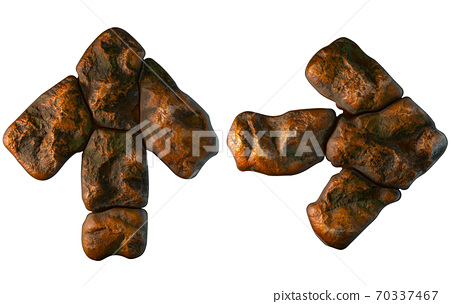 Set of rocky symbols up arrow and right arrow. Font of stone on white background. 3d 70337467