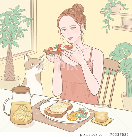 Women and cats eating toast for breakfast at home (with background) 70337683