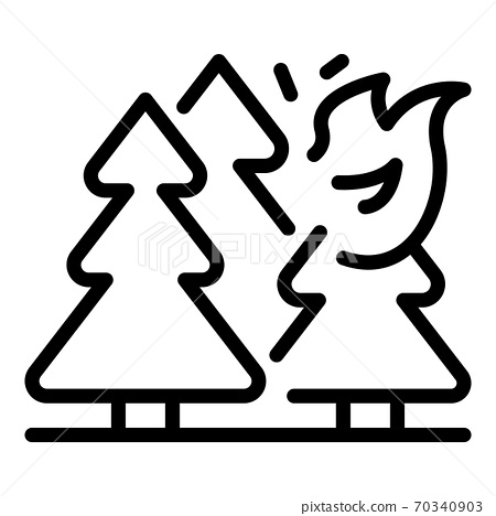Mountain forest wildfire icon, outline style 70340903