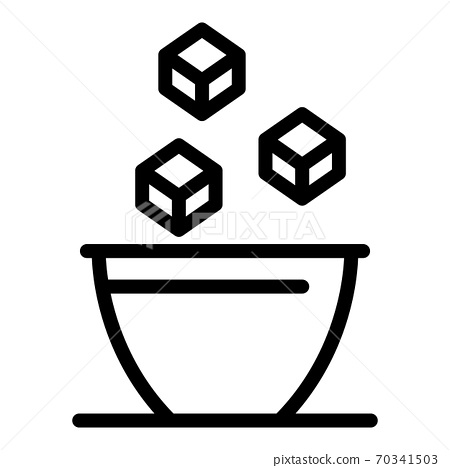 Sugar cubes in bowl icon, outline style 70341503