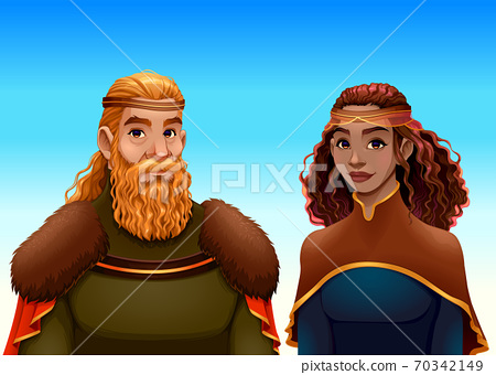 Cartoon portrait of a king and a queen 70342149