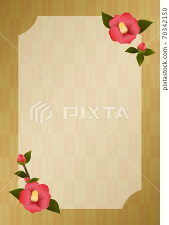 Camellia flower and golden arrow pattern background A4 vertical 70342150