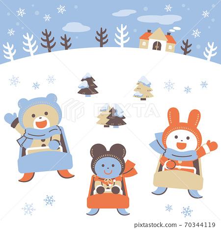썰매 놀이를하는 곰 토끼 · 쥐 / 세트 / 4 색 심플 컬러 70344119