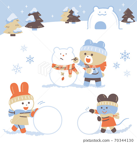 Bears, rabbits, mice playing in the snow / set / 4 colors / simple colors 70344130