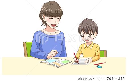 和我媽媽一起學習的男孩 70344855