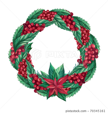 Decorative round Christmas wreath made of cranberry berries, Holly leaves, twigs, Poinsettia flowers 70345161