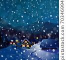 Vector winter wonderland night background. Night winter landscape with houses. 70346994