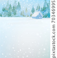 Vector  winter scene with forest and house. Winter  snowy landscape. 70346995