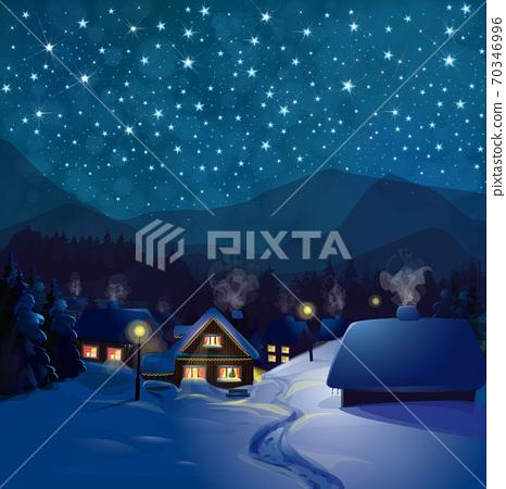 Vector winter wonderland night background. Night winter landscape with houses. 70346996